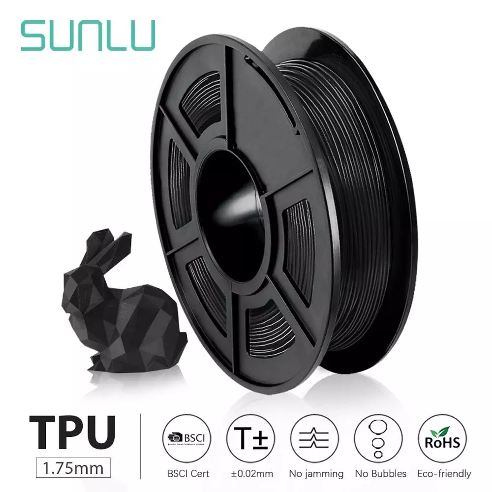 SUNLU TPU 0.5kg Flexible Filament with full color 1.75mm for Flexible model printing