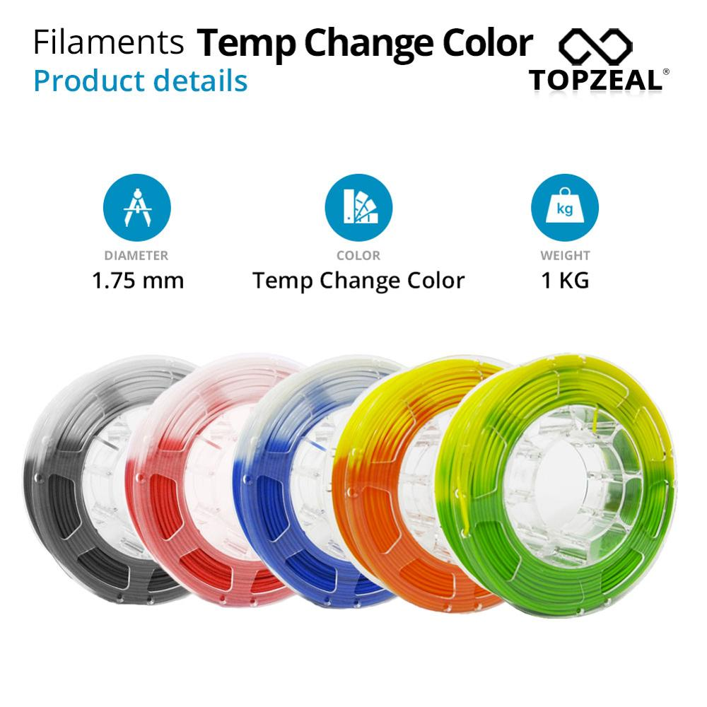 TOPZEAL PLA Filament Color Changed by Temperature, 1KG Spool 1.75mm Filament PLA, Dimensional Accuracy +/- 0.05mm for 3D Printer